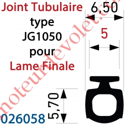 Joint Noir Tubulaire Bi-Dureté JG1050 Talon 5 mm à Monter sur Lame Finale, le mètre
