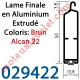 Lame Finale Aluminium 51 x 14 mm à Grand Crochet Coloris Brun Alcan 22