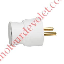 Prise Electrique Mâle 2 P + T 16 A IP 40 en Plastique Blanc à Sortie Droite
