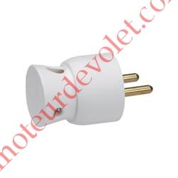 Prise Electrique Mâle 2 P + T 16 A IP 40 en Plastique Blanc à Sortie Latérale