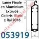Lame Finale Aluminium 53 x 14 mm Coloris ± Ral 9016 Blanc pour Renfort Lame Finale