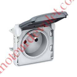 Prise Plexo 2 P+T 16A 250v Etanche ip55 ik07 Coloris Gris pour Pose sur Boîtier Plexo NM