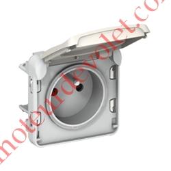 Prise Plexo 2 P+T 16A 250v Etanche ip55 ik07 Coloris Blanc pour Pose sur Boîtier Plexo NM