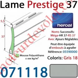 Lame Alu Double Paroi Injectée de Mousse de Polyuréthane Hr37 de 37x8 Coloris Gris 18 Avec Ajourage