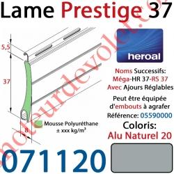 Lame Alu Double Paroi Injectée de Mousse de Polyuréthane Hr37 de 37x8 Coloris Alu Naturel 20 Avec Ajourage