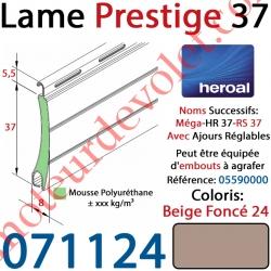 Lame Alu Double Paroi Injectée de Mousse de Polyuréthane Hr37 de 37x8 Coloris Beige Foncé 24 Avec Ajourage