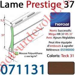 Lame Alu Double Paroi Injectée de Mousse de Polyuréthane Hr37 de 37x8 Coloris Teck 31 Avec Ajourage