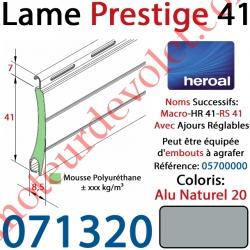 Lame Alu Double Paroi Injectée de Mousse Polyuréthane Hr41 de 41x8,5 Coloris Alu Naturel 20 Avec Ajourage