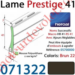Lame Alu Double Paroi Injectée de Mousse Polyuréthane Hr41 de 41x8,5 Coloris Brun 22 Avec Ajourage