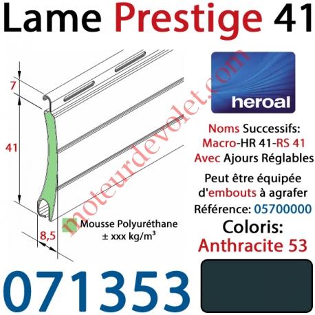 Lame Alu Double Paroi Injectée de Mousse Polyuréthane Hr41 41x8,5 Coloris Gris Anthracite 53 ±Ral7016 Avec Ajourage