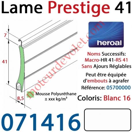 Lame Alu Double Paroi Injectée de Mousse Polyuréthane Hr41 de 41x8,5 Coloris Blanc Sans Ajourage