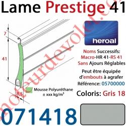 Lame Alu Double Paroi Injectée de Mousse Polyuréthane Hr41 de 41x8,5 Coloris Gris Sans Ajourage