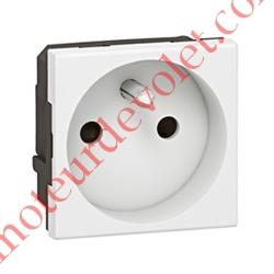 Prise Electrique Femelle 2 P + T 16 A 250v Série Mosaïc en Plastique Blanc