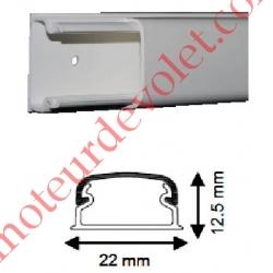 Moulure TM Optima Iboco 20 x 12,5 mm Longueur 2 m Sans Cloison Blanche ±Ral 9010