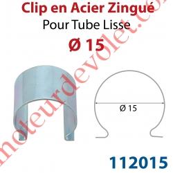 Clip en Acier Zingué pour Tube Lisse ø 15 mm