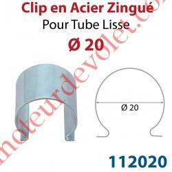 Clip en Acier Zingué pour Tube Lisse ø 20 mm