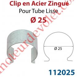 Clip en Acier Zingué pour Tube Lisse ø 25 mm