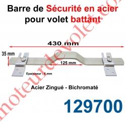 Barre de Sécurité en Oméga Lg 430 mm pour Volet Battant en Acier Plat 35x6 mm Avec 2 Supports Zingués et Bichromatés