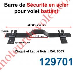 Barre de Sécurité en Oméga Lg 430 mm pour Volet Battant en Acier Plat 35x6 mm Avec 2 Supports Zingués et Laqués Noir ± Ral 9005