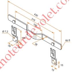 Barre de Sécurité en Oméga Lg 430 mm pour Volet Battant en Acier Plat 35x6 mm Avec 2 Supports Zingués et Laqués Blanc ±Ral 9016
