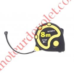 Mètre à blocage 8M boitier avec protection caoutchouc, 8 Mètres  largeur 25 mm