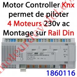 Motor Controller 4AC Bus EIB Knx & IB+ 230 VAC Modèle DRM (Montage sur Rail Din 12 Modules)