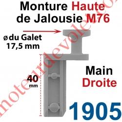 Monture Haute de Jalousie Accordéon M76 Diamètre du Galet Moulé 17,5mm Main Droite