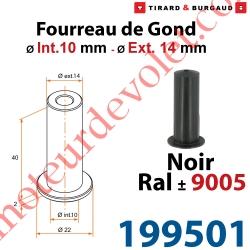 Fourreau de Gond ø 10mm - ø 14 mm en Matériau Composite Noir ± Ral 9005