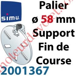 Support Côté Opposé ø58mm pour Téton ø10mm Avec 1 Vis et 1 écrou de Blocage pour Embout Fin de Course 2003767 ou 2003766 (Non F