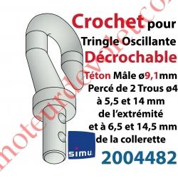 Crochet Classique en Zamac ->Tringle Oscillante Téton Mâle ø9,1mm Percé ø4 à 6,5 et 14,5 mm de la Collerette