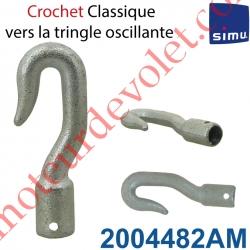 Crochet Classique en Acier Zingué ->Tringle Oscillante Percement Femelle ø13mm Percé ø4 à 6 mm de l'extrémité