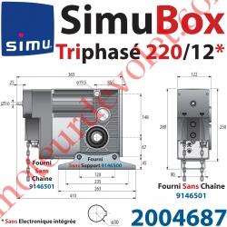 Moteur SimuBox 220/12 Triphasé Arbre Creux ø 30 Sans Electronique Intégrée Av Mds Carré 10 Mâle ou Chaîne