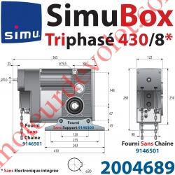 Moteur SimuBox 430/8 Triphasé Arbre Creux ø 30 Sans Electronique Intégrée Av Mds Carré 10 Mâle ou Chaîne