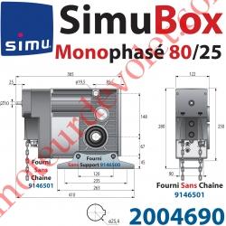 Moteur SimuBox 80/25 Monophasé Arbre Creux ø 25,4 Avec Mds Carré 10 mm Mâle ou Chaîne