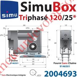 Moteur SimuBox 120/25 Triphasé Arbre Creux diamètre 25,4 Sans Electronique Intégrée Avec Mds Carré 10 Mâle ou Chaîne