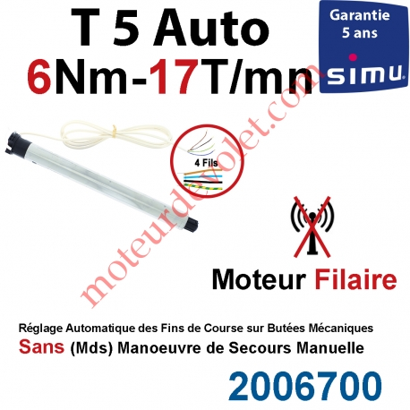 Moteur Filaire Electronique T5 Auto 6/17 Réglage Automatique des FdC sans Mds