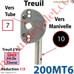 Treuil à Vis 1/3 Sans Fdc Carré  7 Sortie Ronde Diamètre 10 mm Longueur 20 mm