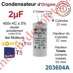Condensateur d'Origine pour Moteur Tubulaire Simu ou Somfy à Cosses Faston 2,8 mm Capacité 2µF ±5% 400-450v