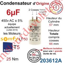 Condensateur d'Origine pour Moteur Tubulaire Simu ou Somfy à Cosses Faston 2,8 mm Capacité 6µF ±5% 400-450v