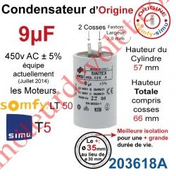 Condensateur d'Origine pour Moteur Tubulaire Simu ou Somfy à Cosses Faston 2,8 mm Capacité 9µF ±5% 400-450v