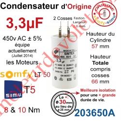 Condensateur d'Origine pour Moteur Tubulaire Simu ou Somfy à Cosses Faston 2,8 mm Capacité 3,3µF ±5% 400-450v