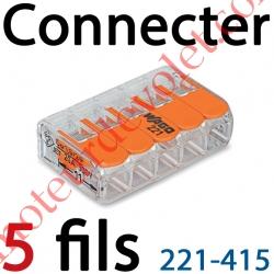 Borne Mini Connexion à Leviers 5 Fils Souples ou Rigides jusqu'à 4 mm² Intensité Max 32A Tension 450v