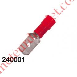 Cosse Rouge Mâle Isolée Languette 6,35 mm