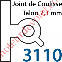 """Joint Noir pour Coulisses de Rénovation Talon 7,3 mm Lames de 8 mm -9 mm """"n°3"""""""