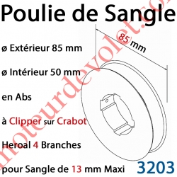 Poulie de Sangle en Abs ø 85 mm à Clipper sur Crabot Heroal 4 Branches