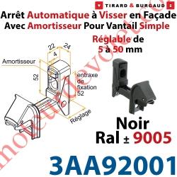 Arrêt Automatique à Visser en Façade AA3G Avec Amortisseur pour Vantail Simple Réglable de 5 à 50mm Noir ± Ral 9005