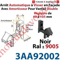 Arrêt Automatique à Visser en Façade AA3G Avec Amortisseur pour Vantail Double Réglable de 60 à 105mm Noir ± Ral 9005