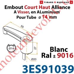 Embout Court Haut modèle Alliance à Visser pour Tube d'Espagnolette Diamètre 14mm Rainuré en Aluminium Laqué Blanc ± Ral 9016