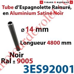 Tube d'Espagnolette ø 14mm Rainuré Longueur 4 800mm en Aluminium Laqué Noir Satiné ± Ral 9005