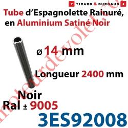 Tube d'Espagnolette ø 14mm Rainuré Longueur 2 400mm en Aluminium Laqué Noir Satiné ± Ral 9005